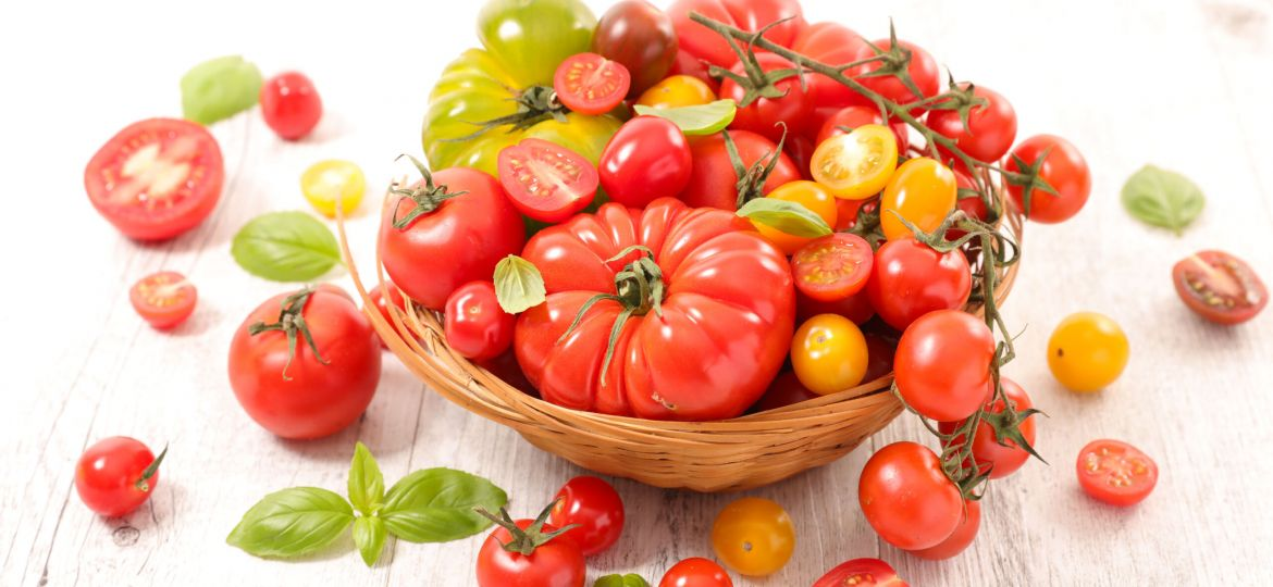 assorted various tomatoes and basil